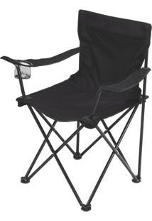 Cadeira Aurora Dobrável Com Braço E Porta-Copos Preta - Echolife