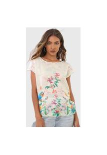 Blusa Malwee Floral Off-White
