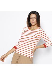 Blusa Canelada Listrada- Branca & Vermelha- Sommersommer