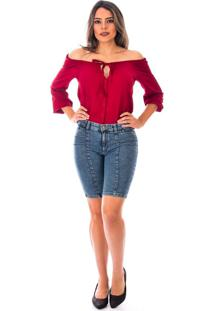 Blusa Sisal Jeans Ciganinha Manga Longa Crepe Cereja