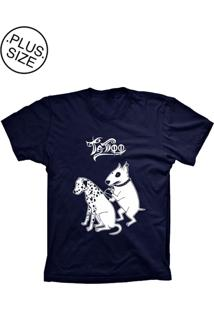 Camiseta Lu Geek Plus Size Tatoo Azul Marinho