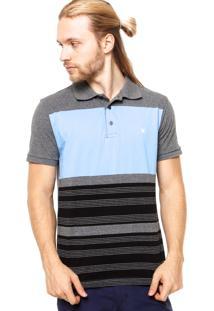 5c8ab6c8e1 ... Camisa Polo Manga Curta Hurley Icon Cinza Azul Preto