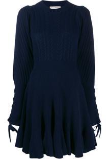 Ulla Johnson Vestido De Tricô Com Mangas Volumosas - Azul