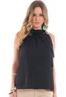 Blusa Lisa Floriá Feminina - Feminino-Preto