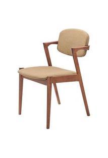 Cadeira Greta Madeira Seringueira Linho Cor Marrom - 28669 Preto