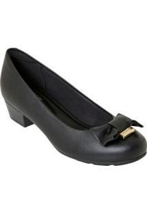 Sapato Modare Preto Com Detalhe De Laço