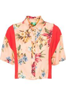 Camisa Feminina Recortes Floral Linda - Laranja