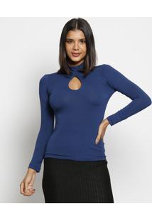 Blusa Gola Alta Com Vazado - Azul Marinho - Maria Pamaria Padilha