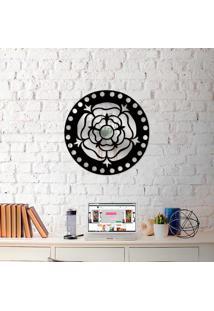 Escultura De Parede Wevans Mandala Rosa + Espelho Decorativo