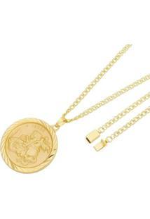 Pingente São Jorge Com Corrente Losango Dupla Gaveta Tudo Joias Folheado A Ouro 18K - Masculino-Dourado