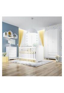 Quarto Bebê Branco Berço/Cômoda/Guarda-Roupa Gráo De Gente Branco