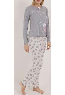 Pijama Longo Feminino Cinza/Off White