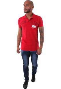Camisa Polo Rockstar Cavalo Jogo Vermelha