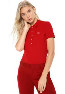 Camisa Polo Lacoste Slim Logo Vermelha