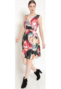 Vestido Floral - Rosa & Verde - Ahaaha