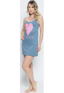 Camisola Com Coração De Bigode- Cinza & Rosa- Zulaizulai