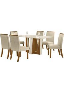 Sala De Jantar Mesa Alfa 160Cm 6 Cadeiras Tauá Nature/Off White/Linho