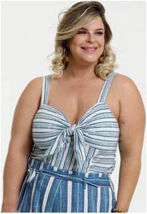 Blusa Feminina Listrada Laço Plus Size Marisa