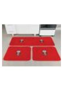 Tapete De Cozinha Pelúcia Coruja Vermelho 3 Peças Antiderrapante