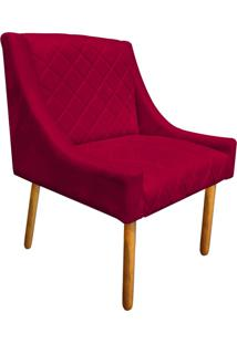 Poltrona Decorativa Paris Suede Vermelho - D'Rossi