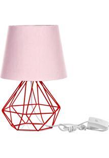 Abajur Diamante Dome Rosa Com Aramado Vermelho - Rosa - Dafiti