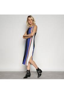 Vestido Triton Midi Listras - Feminino-Estampado