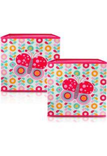 Kit 2 Caixa Organizadora De Brinquedos E Roupas Jacki Design Infantil Dobrável Rosa