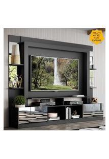 """Rack Estante C/ Painel Tv 65"""" E Espelho Oslo Multimóveis Preto/Branco"""