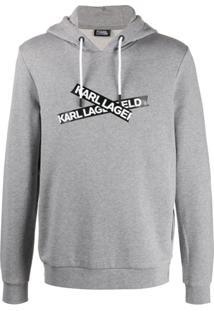 Karl Lagerfeld Moletom De Capuz Com Logo E Cordão De Ajuste - Cinza