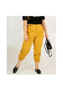 Calça Plus Size Feminina Jogger Sarja Bolsos