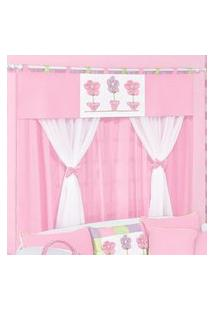 Cortina Dupla Padroeira Baby Patch Flor Rosa