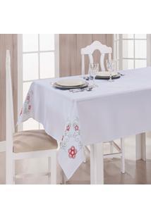 Toalha De Mesa Dália Tergal Verão Branca Vermelha 1,40M