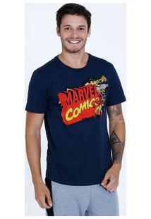 Camiseta Masculina Personagens Manga Curta Marvel