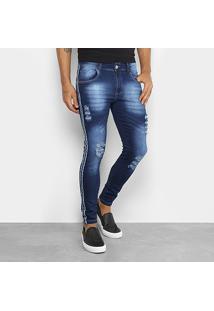 Calça Jeans Skinny Coffee Rasgos Listra Lateral Masculina - Masculino