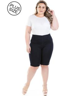 Bermuda Plus Size - Confidencial Extra Jeans Knit Com Zíper Lateral - Tricae
