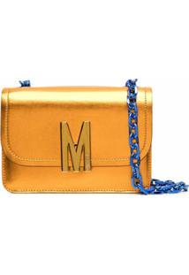 Moschino Bolsa Tote Metálica Com Placa De Logo - Laranja