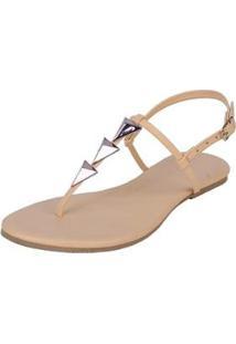 Sandália Rasteira Mercedita Shoes Flat Pirâmide Feminina - Feminino-Bege