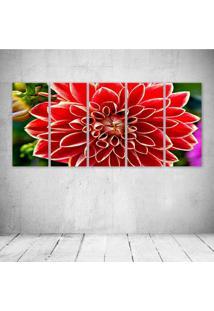 Quadro Decorativo - Red Dahlia - Composto De 5 Quadros - Multicolorido - Dafiti