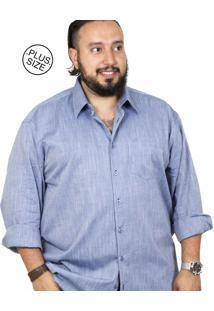 Camisa Plus Size Bigshirts Manga Longa Flamê Azul
