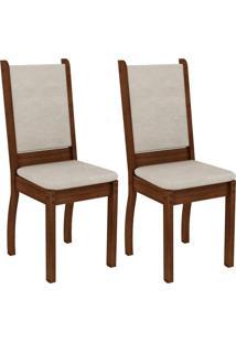 Conjunto Com 2 Cadeiras Viena Suede Rustic E Pérola