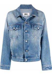 Mm6 Maison Margiela Jaqueta Jeans Com Efeito Machado - Azul