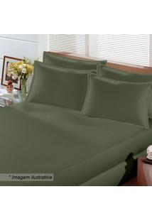 Lençol Image Rolinho De Casal Em Malha- Verde Militar