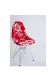 Capa P/ Cadeira Charles Eames Eiffel Wood Floral Branco Com Vermelho