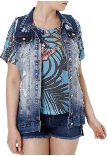 Colete Naraka Jeans Feminino - Feminino-Azul
