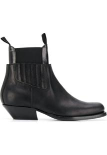Mm6 Maison Margiela Ankle Boot Com Recortes - Preto