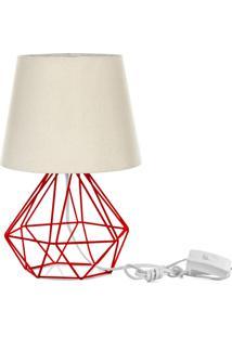 Abajur Diamante Dome Bege Com Aramado Vermelho - Bege - Dafiti