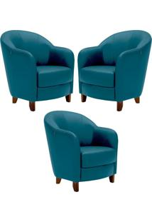 Kit 3 Poltronas Decorativas Sala De Estar Pés Madeira Kairós Couro Azul - Gran Belo