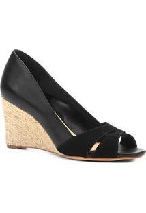 Peep Toe Anabela Shoestock Corda Mix Couros - Feminino-Preto