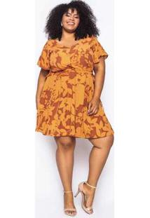 Vestido Almaria Plus Size Kayla Tondela Estampado Caramelo/Marrom Amarelo