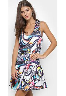 Vestido Triton Estampado Feminino - Feminino-Colorido